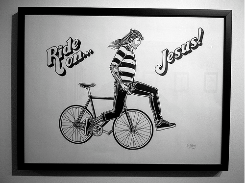 Jesus Is Coming For Us On A Bike Bike Bicycle Illustration