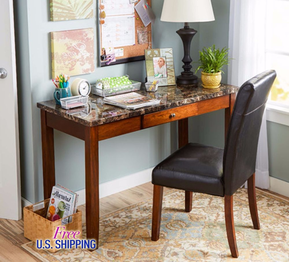 Wooden Writing Desk Faux Leather Chair Office Furniture