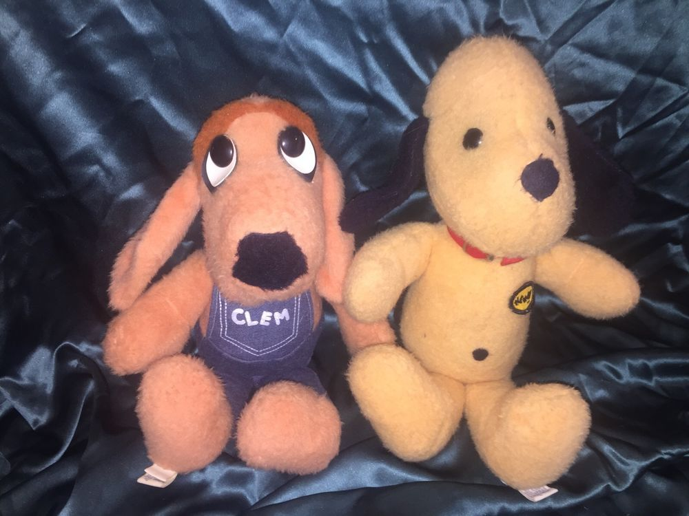 Lot Of 2 Vintage 1970s Animal Fair Stuffed Dog Plushes Clem And