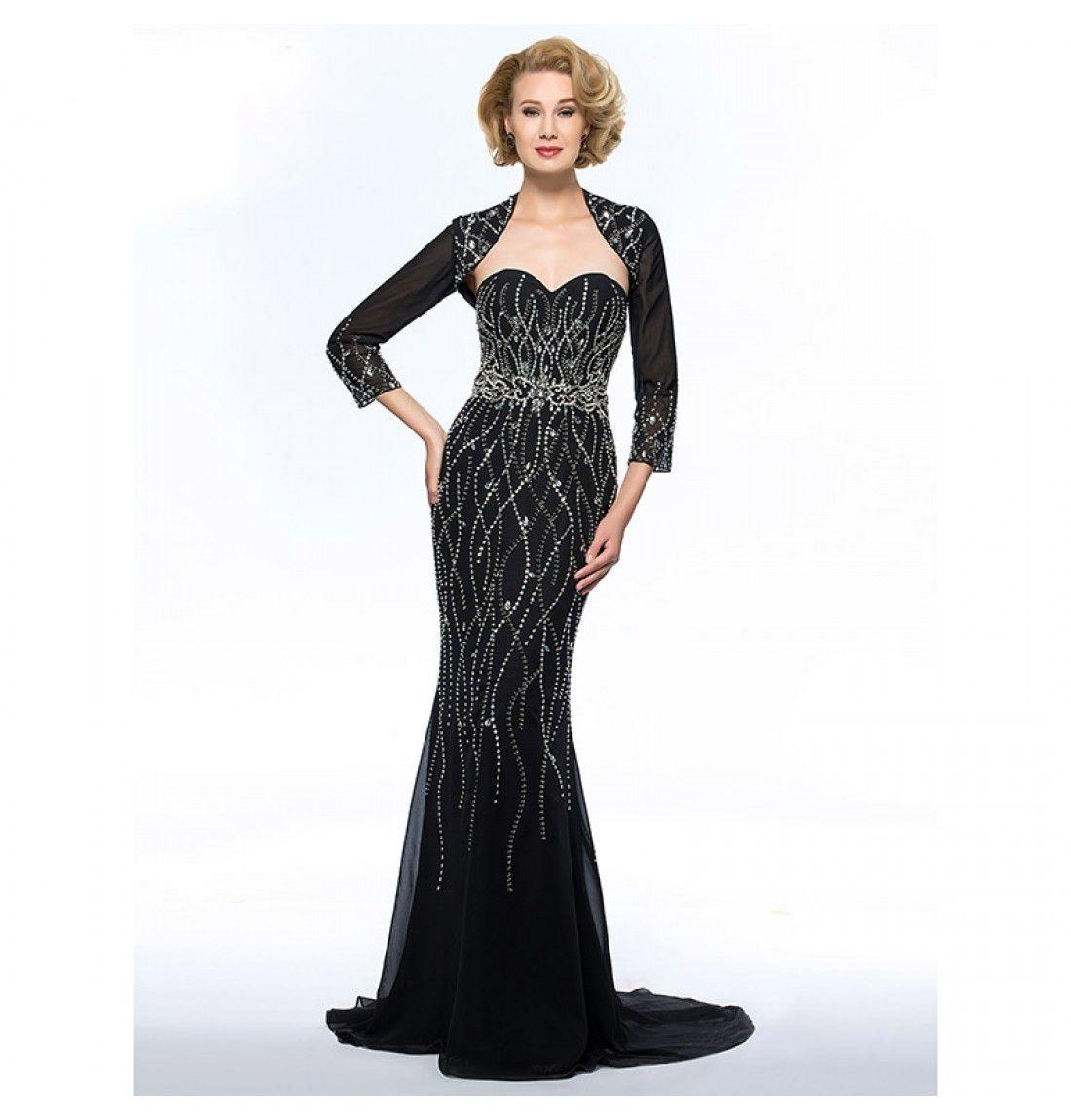 Luxuriöses Schwarzes Langes Brautmutter Abendkleid mit Bolero
