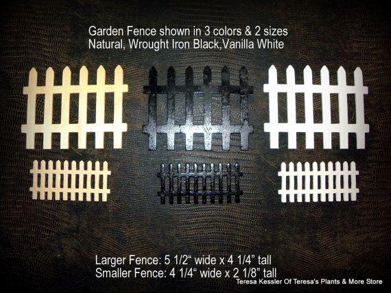 Elegant 1 Small Wooden Fairy Garden Fence Wrought Iron Black Natural Or Vanilla  White Miniature