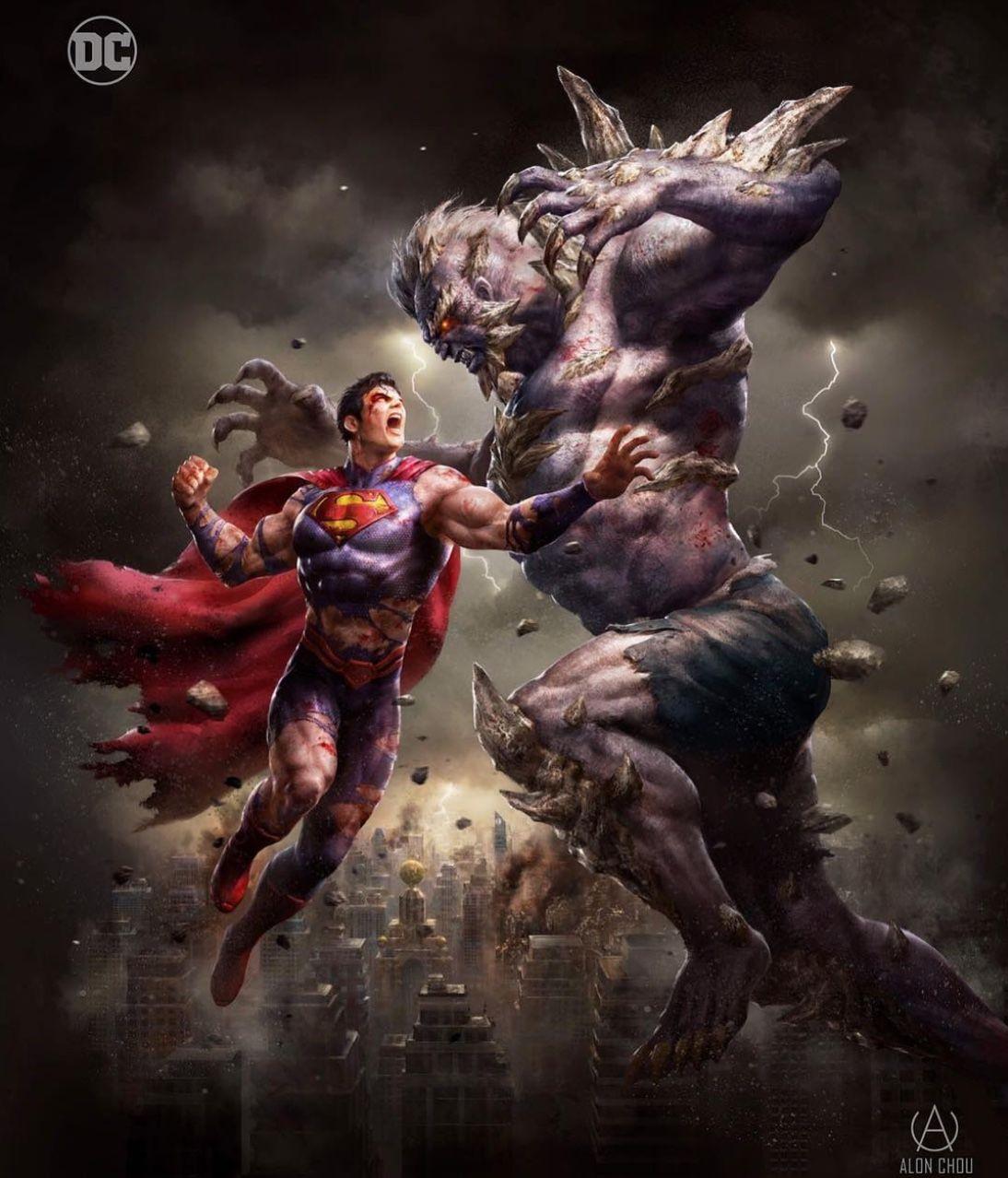 Dc comics comic book artwork superman vs doomsday by