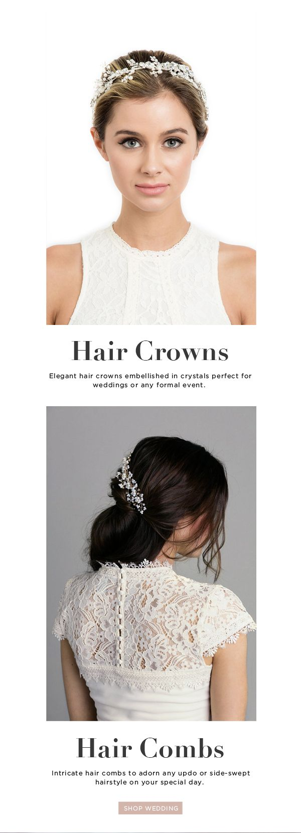 Swarovski dusted hair pieces for all bridal hairstyles check out