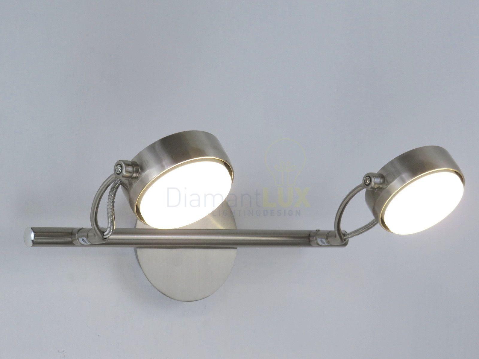 Applique moderno a led con faretti orientabili struttura nikel