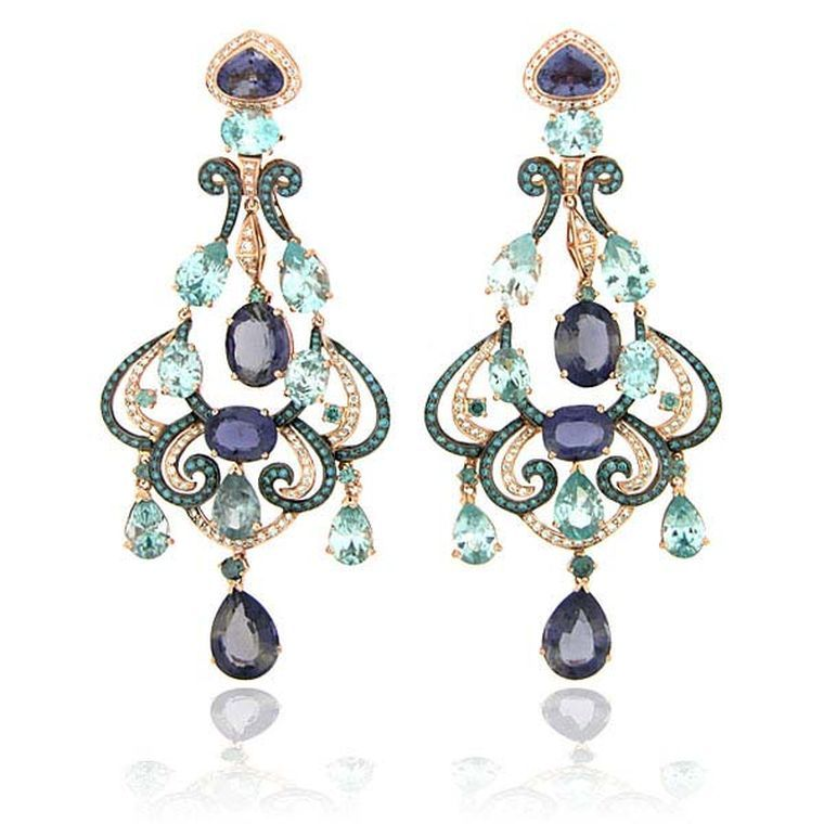 Zorab atelier de creation a confidently colourful cosmos of gorgeous gorgeous zorab atelier de creation delicate brilliance jeweled chandelier earrings featuring amethyst quartz blue and white diamonds blue topaz mozeypictures Gallery