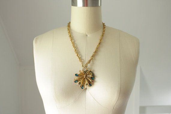 Handmade bejeweled pendant chain necklace by SchoolofVintage, $30.00