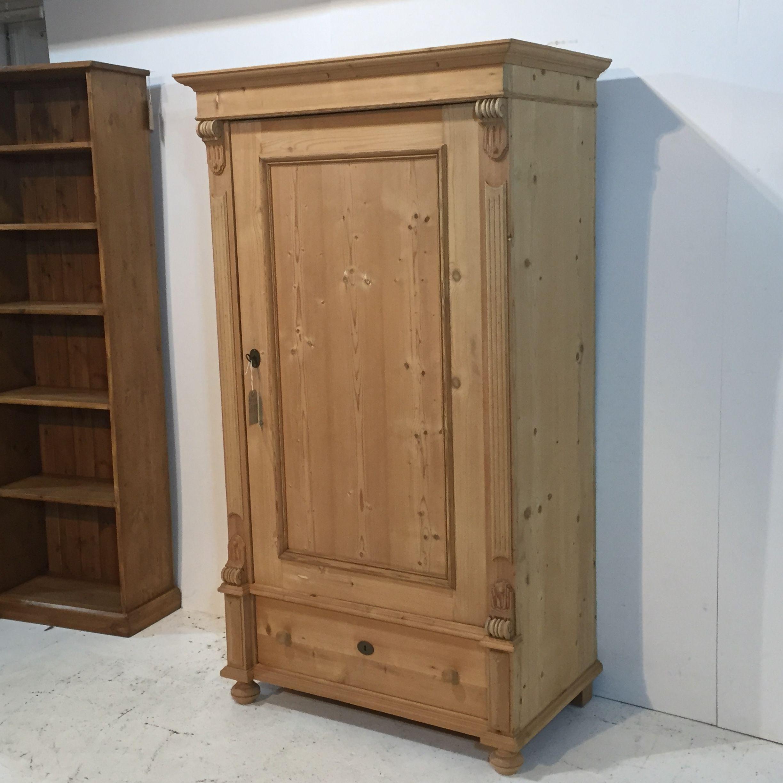 Single Antique Pine Wardrobe With Bottom Drawer S0504c Pine Wardrobe Bedroom Design Diy Antique Pine Furniture