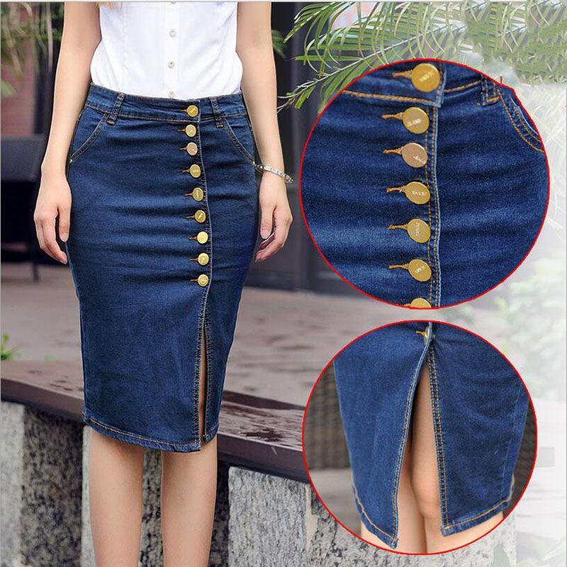 a987d3c42d5 European British style cotton cowboy denim women skirts plus size S-6XL  fashion single breasted elastic package hip skirt N35
