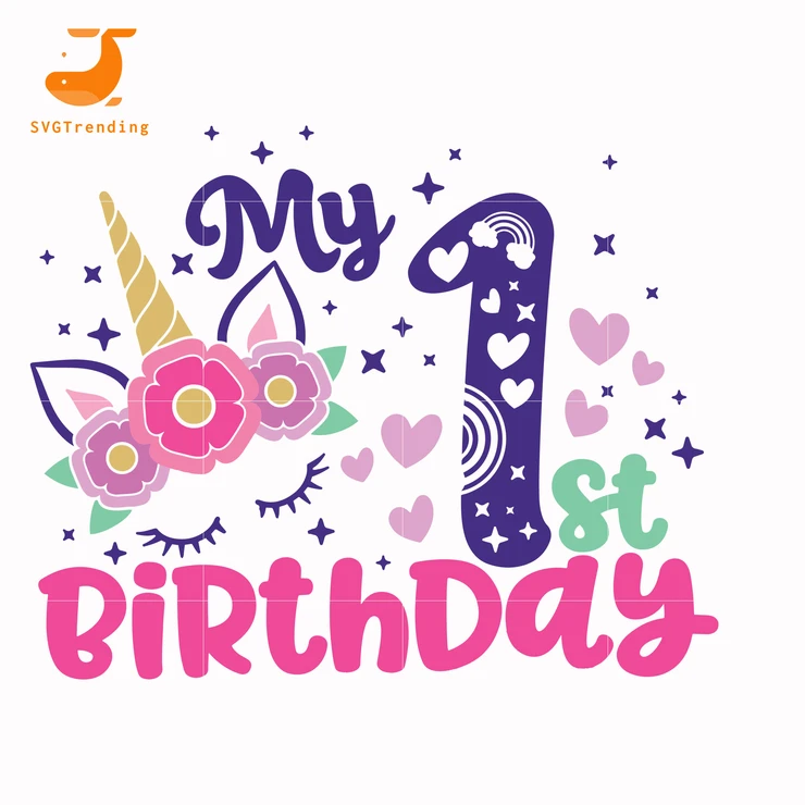 My 1st birthday svg, unicorn svg, easter svg, bunny svg svg ,dxf, eps, png digital file - Easter svg, Bunny svg, Unicorn svg, 1st birthday, Scrapbooking projects, Cute poster - This is digital download file, It's not a physical commodity  ♡ Make cute poster for the comfort of your apartment ♡ Or decorate a tshirt, bag, pillowcase transfer iron ♡ This file will be a cool vinyl sticker ♡ As an idea  this file is a coloring book for your kid ♡ This file is huge variation for a creative person