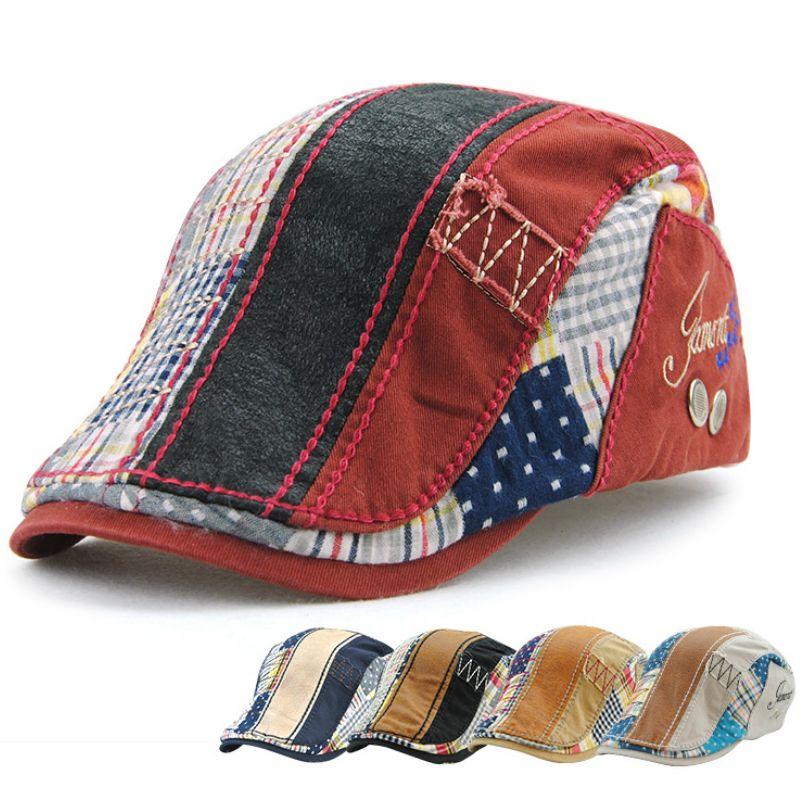 c39986c9 JAMONT Brand Fashion British Style New Vintage Belets Flat Cap Boina Hat  for Men England British Retro Cotton Striped Beret Caps