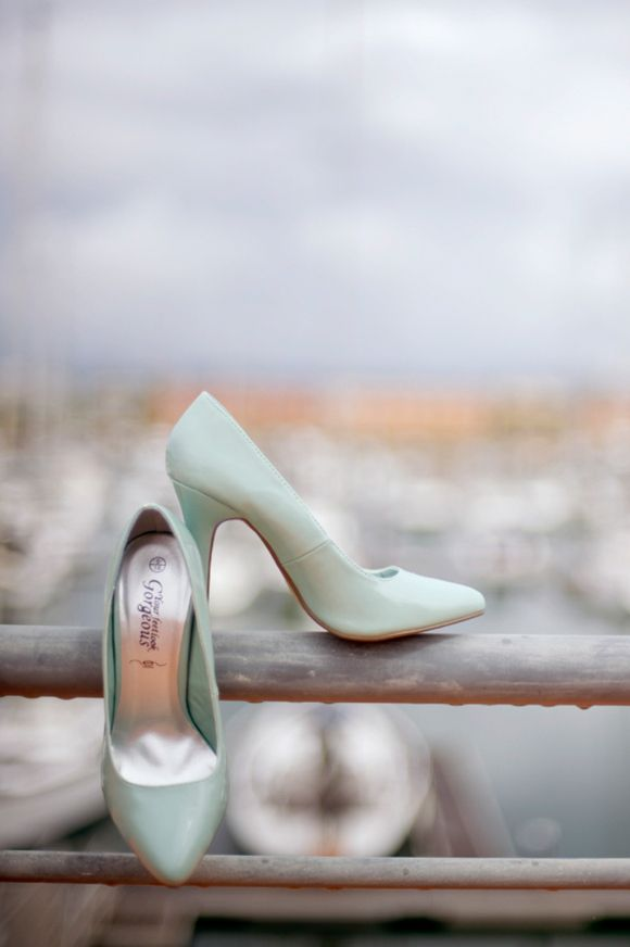 Pale Blue Wedding Shoes And A Cute Red Cardigan
