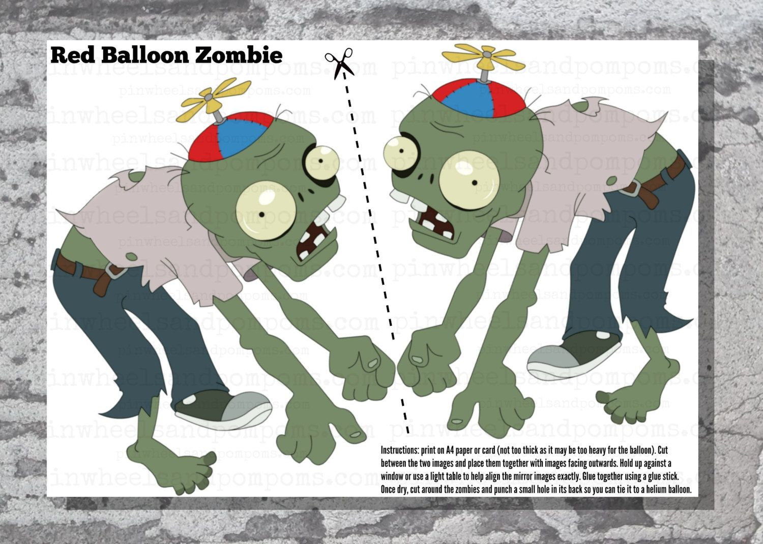 Floating balloon zombie bs fiesta tem tica zombie for Decoracion con globos plantas contra zombies