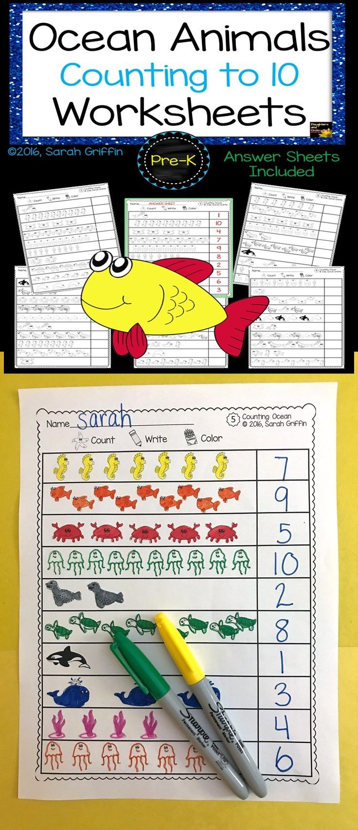Count, Color, and Write Numbers to 10 | Ocean Theme | Math ...