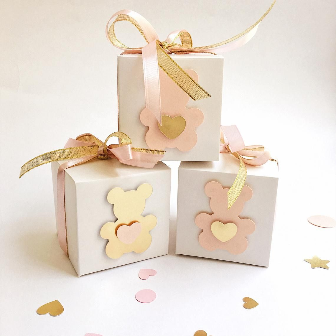 Teddy Bear Favor Boxes Rose Blush Gold Girl 1st Birthday