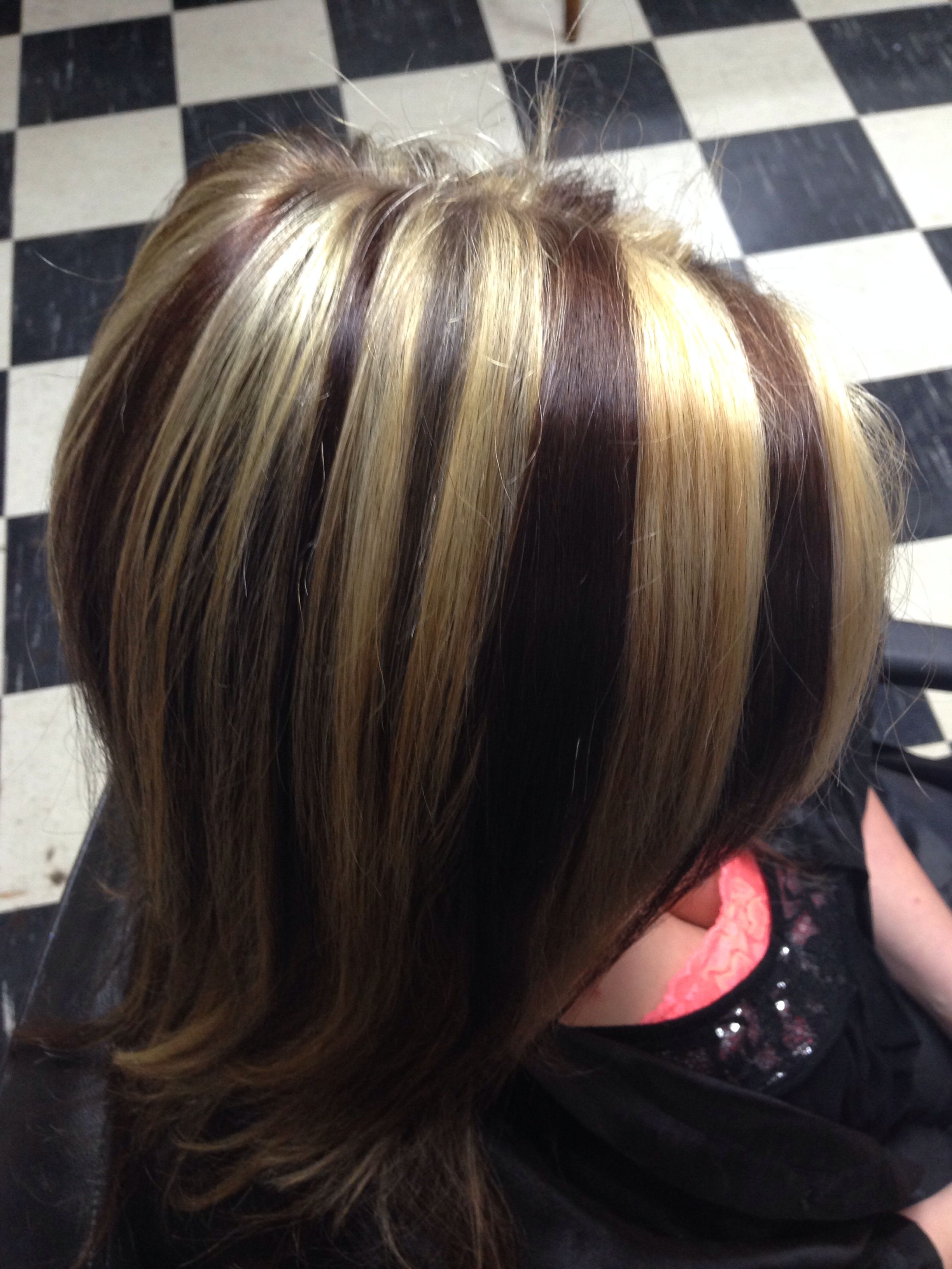 chunky blonde highlights and brown red lowlights | hair