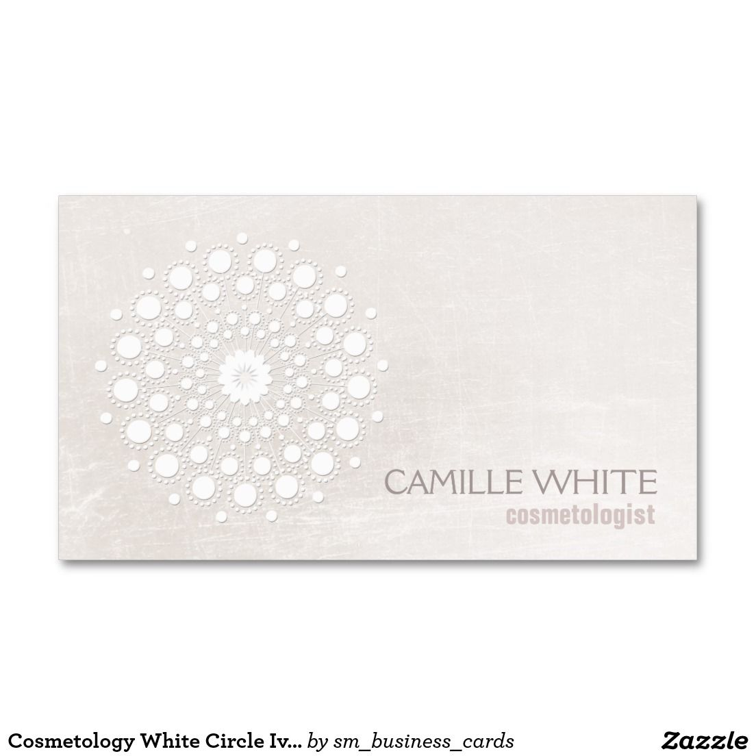 Chic elegant white circle logo white cosmetologist business card cosmetology white circle ivory texture elegant spa pack of standard business cards reheart Choice Image