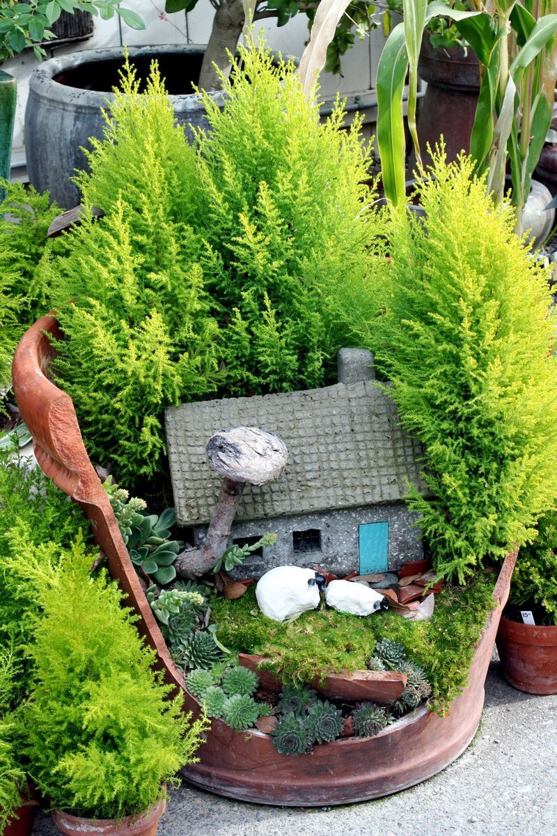 Fairy garden...in a cracked pot.  I love this!