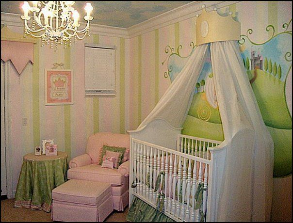 I Like The Drape Idea And Mural Behind Crib Rest Of Rooms Is A Bit Busy Baby Nursery Ideas With Princess Theme