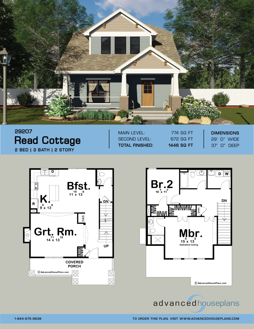 2 story craftsman style house plan read cottage