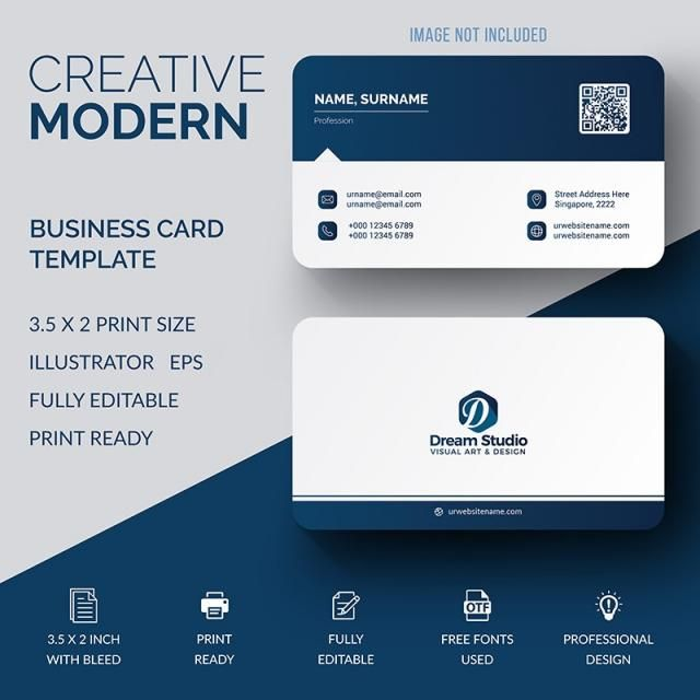 Business Card Template Design Vector Creative Modern Abstract Name Background Simp Business Cards Creative Modern Business Cards Business Card Design