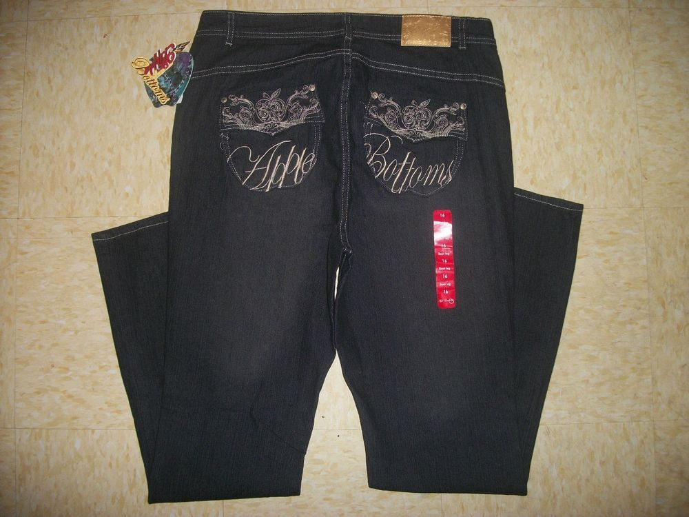 NWT WOMENS APPLE BOTTOMS Embroidered Boot cut JEANS Plus Size 14 16 18 20 22 24 #AppleBottoms #BootCut