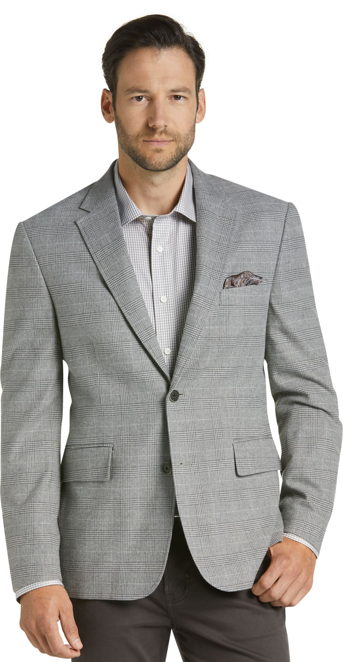 dd29ff253b0 Reserve Collection Tailored Fit Plaid Casual Jacket - Big   Tall