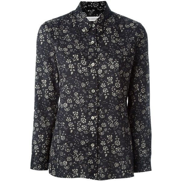 Isabel Marant Étoile 'Babylon' shirt (335 BGN) ❤ liked on Polyvore featuring tops, black, black floral top, shirts & tops, black long sleeve shirt, long sleeve shirts and floral print top