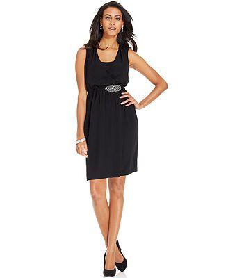Alfani Dress Sleeveless Rhinestone Brooch Faux Wrap Macy