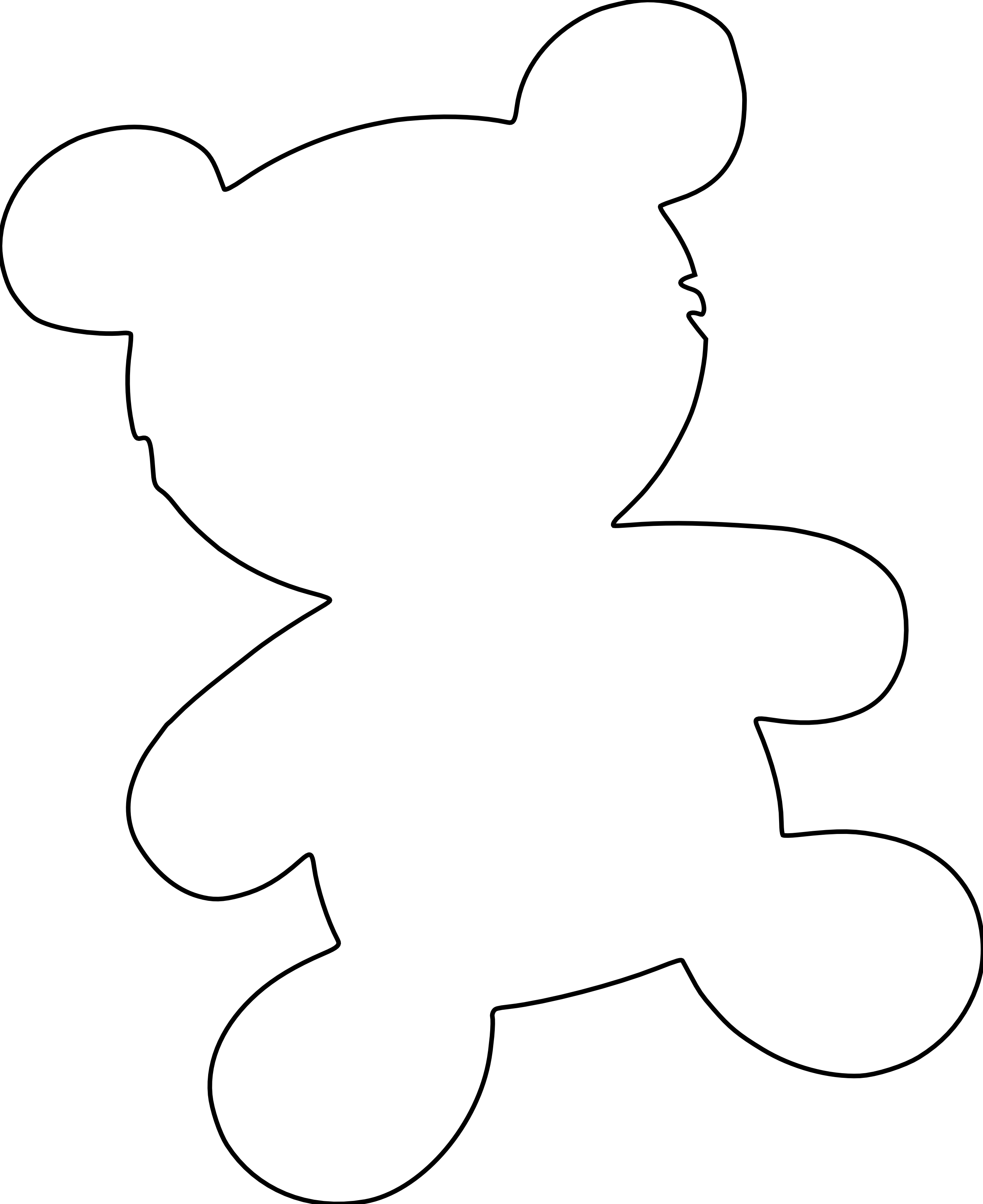Clip Art Outline Teddy Bears
