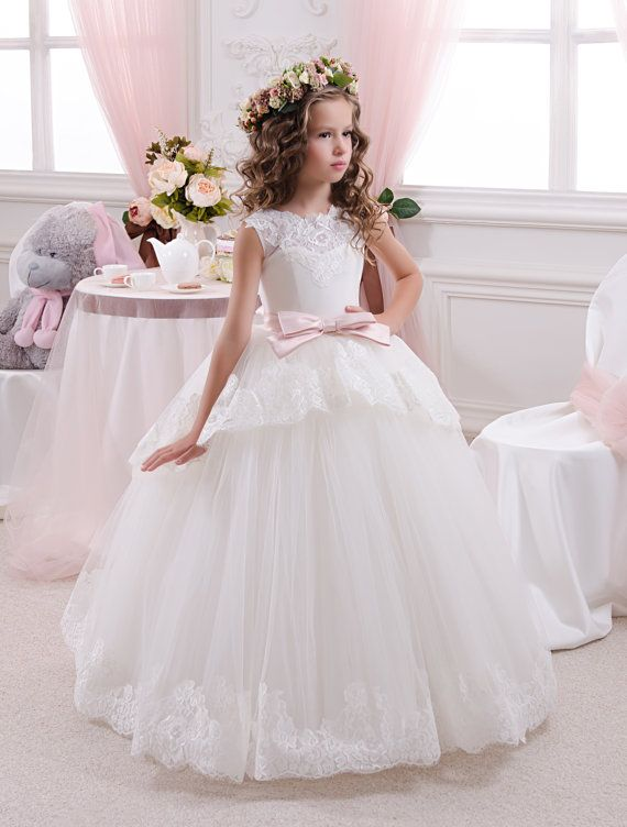 Lace Flower Girl Dress Girls Tulle Dresses Birthday Party Dress Communion Dress