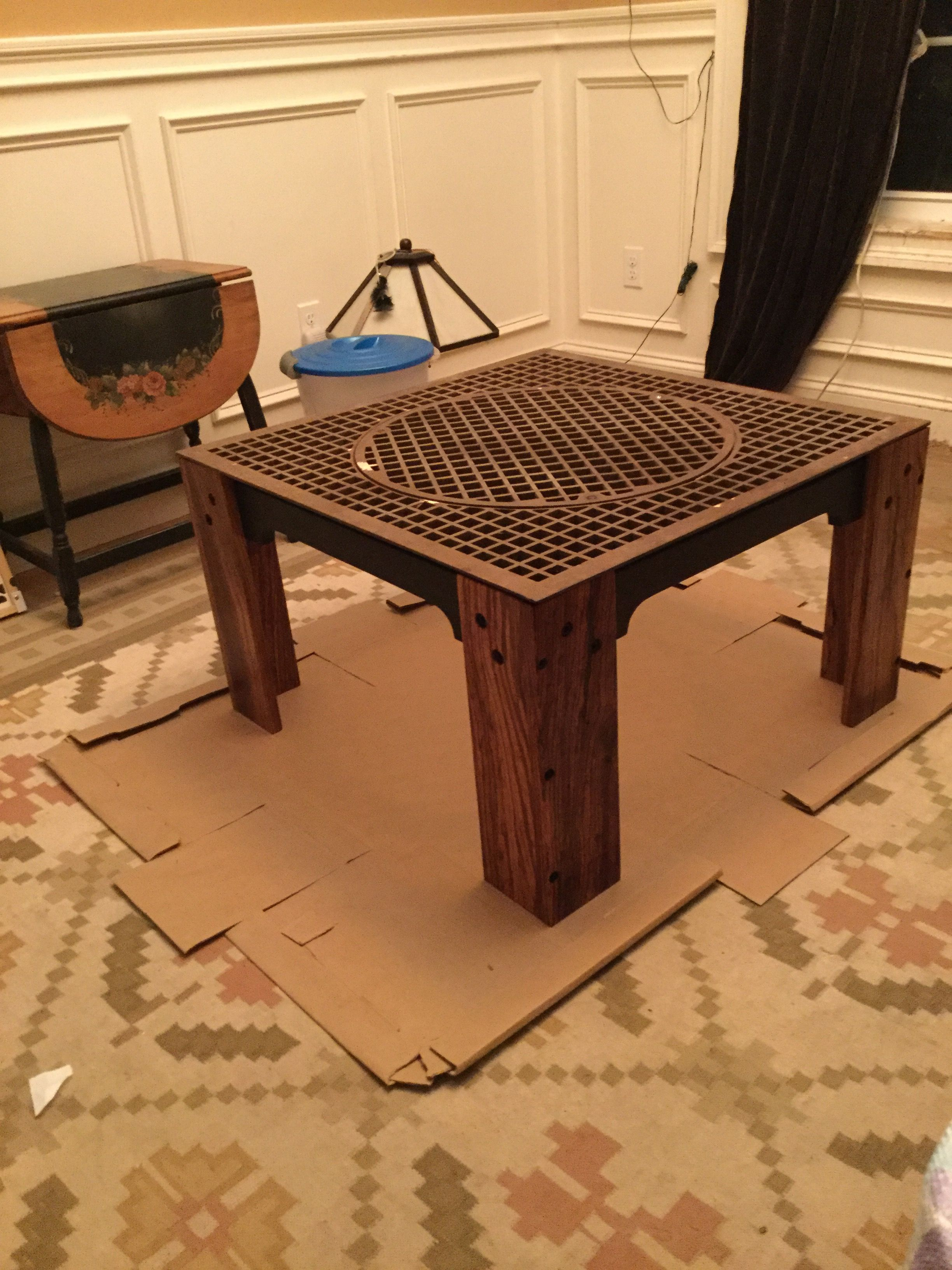 Almost finished new coffee table for a client iron grate with