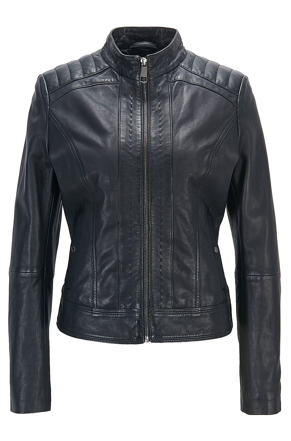 Lightweight slimfit leather jacket with contrast lining