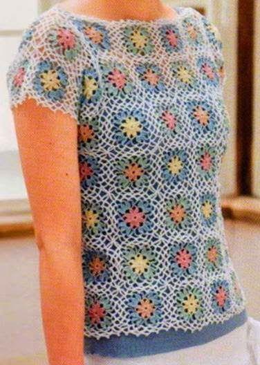 Häkelmuster Fundgrube Shirt Aus Bunten Blumen Granny Squares