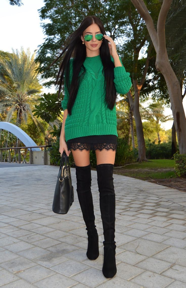 Team a green knit jumper with a black lace mini skirt for both chic and easy-to-wear look. Elevate your getup with black suede over the knee boots.   Shop this look on Lookastic: https://lookastic.com/women/looks/cable-sweater-mini-skirt-over-the-knee-boots-tote-bag-sunglasses/11954   — Green Sunglasses  — Green Cable Sweater  — Black Lace Mini Skirt  — Black Leather Tote Bag  — Black Suede Over The Knee Boots