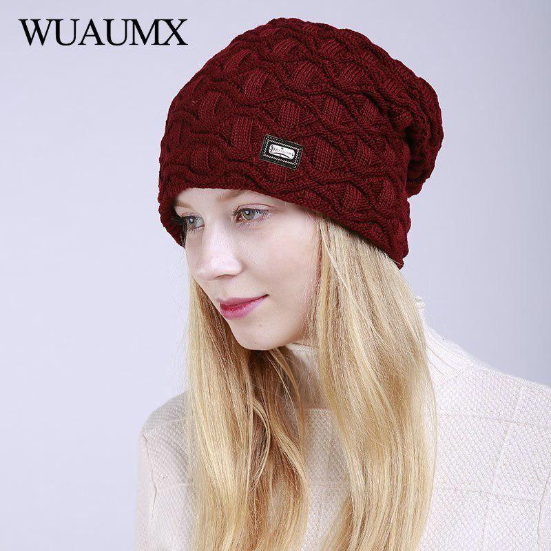 7d53e270f77 Wuaumx Unisex Winter Beanies Hats For Women Keep Warm Woolen Skullies Hat  With Velvet Knitted Cap Men bonnet femme czapka zimowa.