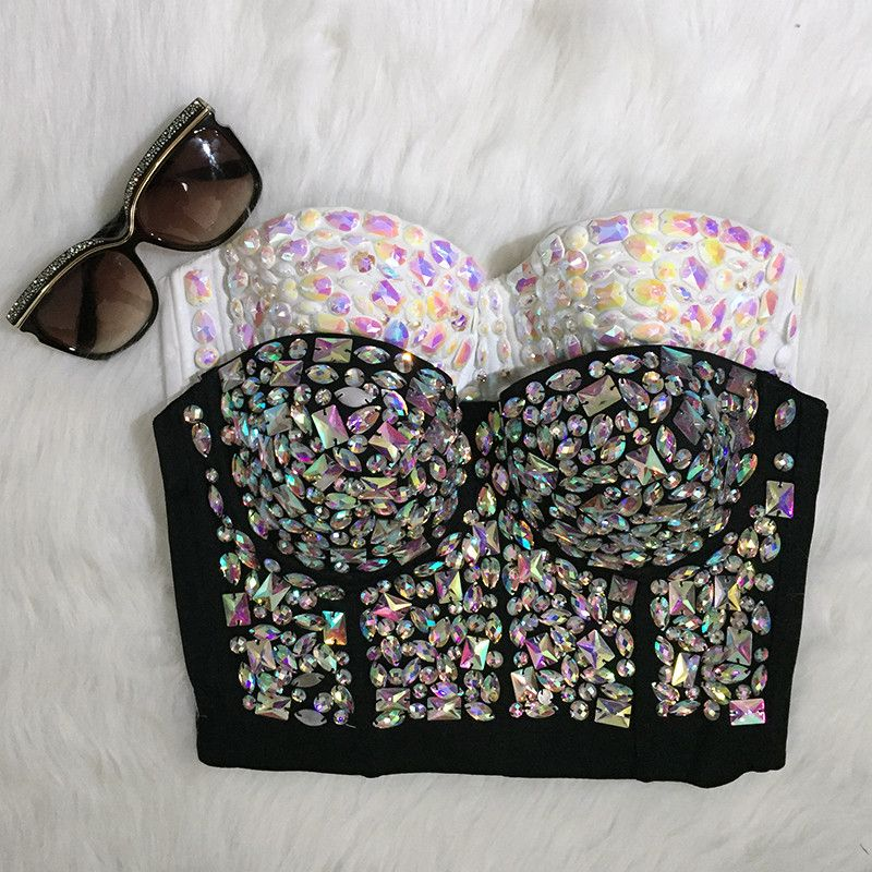 1b83891c380 Unique Rinestone Colorful Hand-made Pearls Bralet Corselets Women s Bustier  Bra Cropped Top Bralette Vest Plus Size