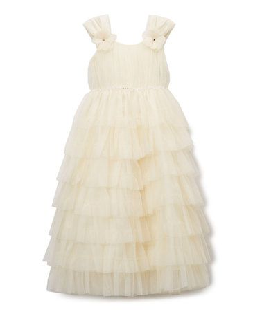 This Ivory Tulle Ruffle Dress - Infant, Toddler & Girls is perfect! #zulilyfinds