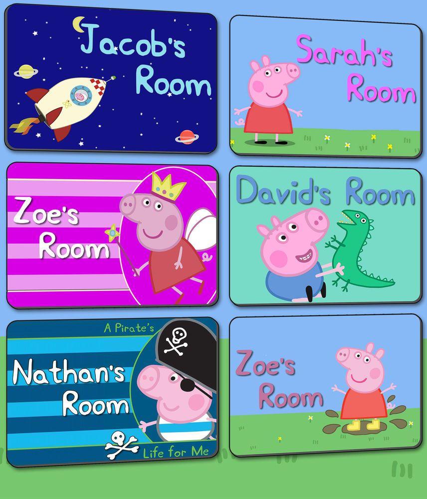 Peppa Pig Personalised Bedroom Childrens Kids Door Plaque