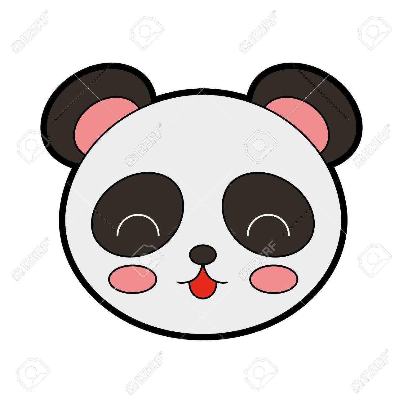Lindo Diseño Gráfico De La Cara De Oso Panda De Color Gráfico De La Cara Oso Panda Panda