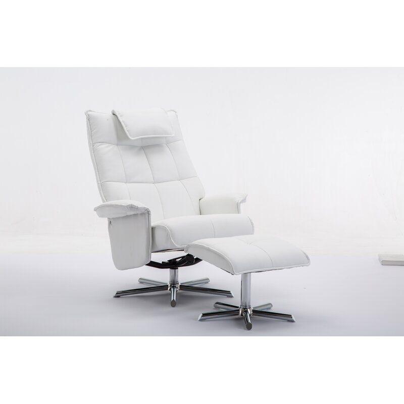 Outstanding Finkelstein Manual Swivel Recliner With Ottoman A Walnut Uwap Interior Chair Design Uwaporg