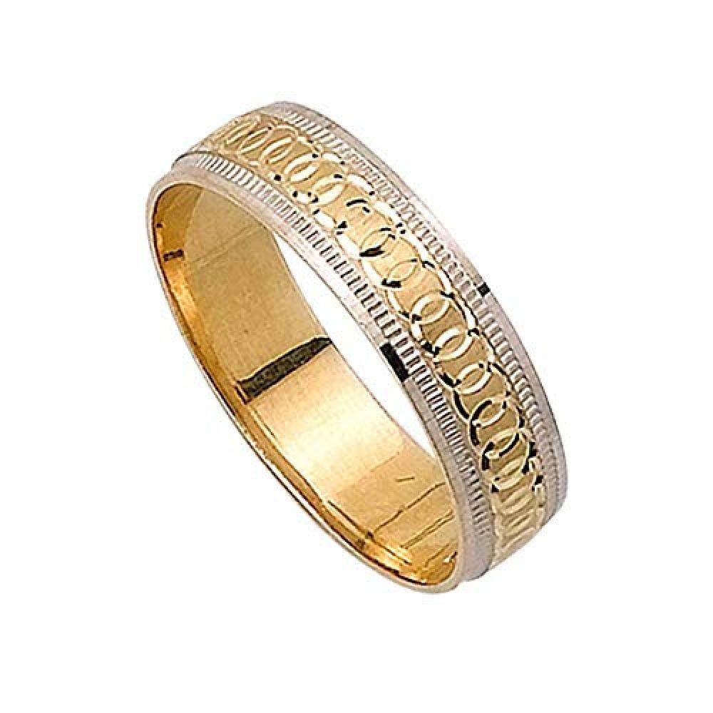 14K Two Tone Gold Infinity Pattern Men's Wedding Band (5mm