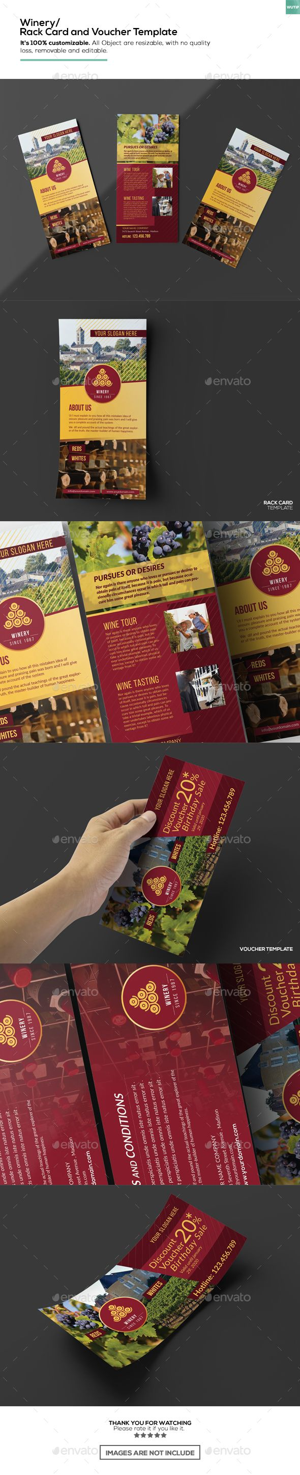 Winery Rack Card And Voucher Template Print Templates Template - Rack card template photoshop