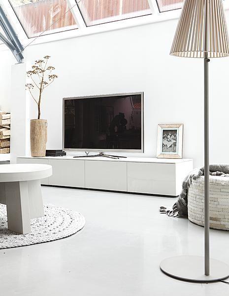 Witte Lage Kast.Tover Wit Televisiemeubel Weg Met Witte Muur Witte Tv