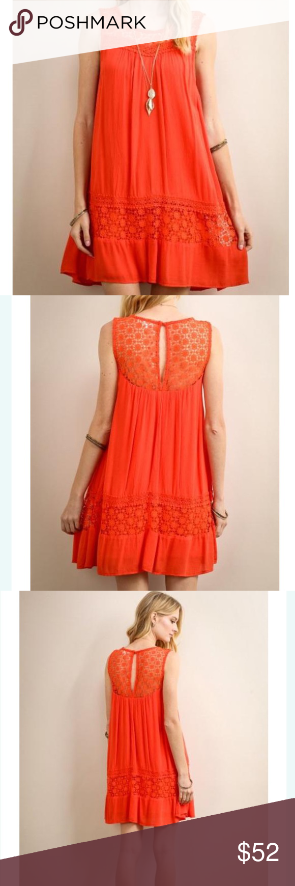 "💋Poppy Dress This dress is a pretty poppy red/orange color with crochet accents at bodice, back and skirt.  Button closure in back of neck.  Fabric 100% rayon with polyester lining.  Length is 33"" on mannequin.   Glad to measure sizes upon request 🌻no trades 🌻pricing firm unless bundled Dresses"