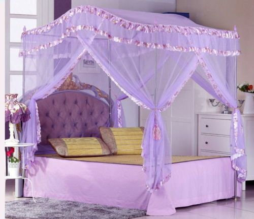 Bed Canopy Mosquito Net With Stainless Steel Poles Princess Series
