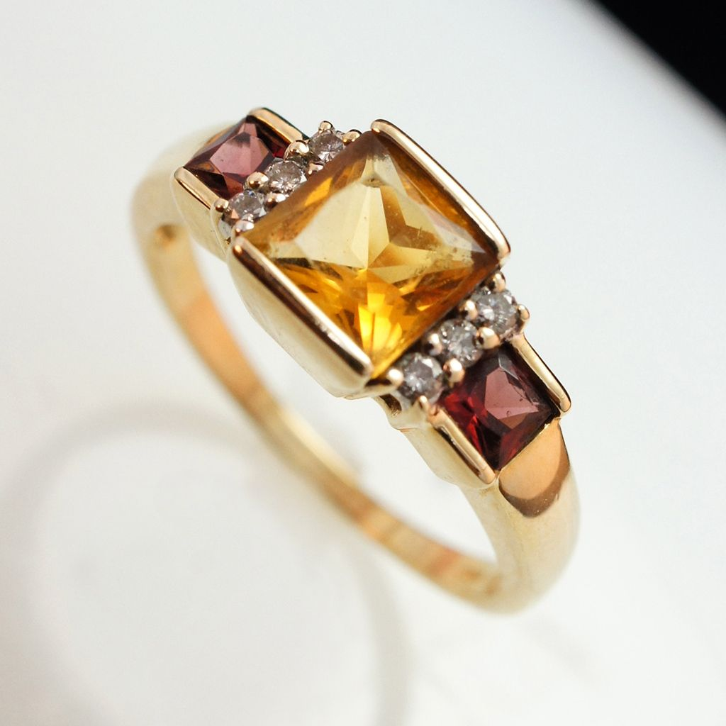 Vintage Citrine Almandine Garnet Diamond Ring In 10k Yellow Gold Size 7 Gr 00567 Removed Almandine Garnet Citrine Ring Citrine