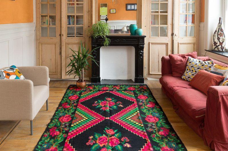 Perzisch Tapijt Goedkoop : Vloerkleed bloemenprint tapis kilim oversized bohemian rug big