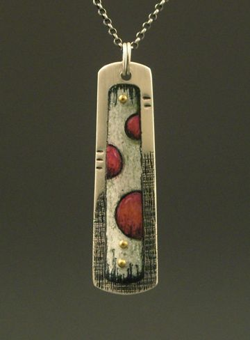 Deb Karash, Sterling silver, 18k rivets and colored pencil on copper.   Love the texture and whimsy.