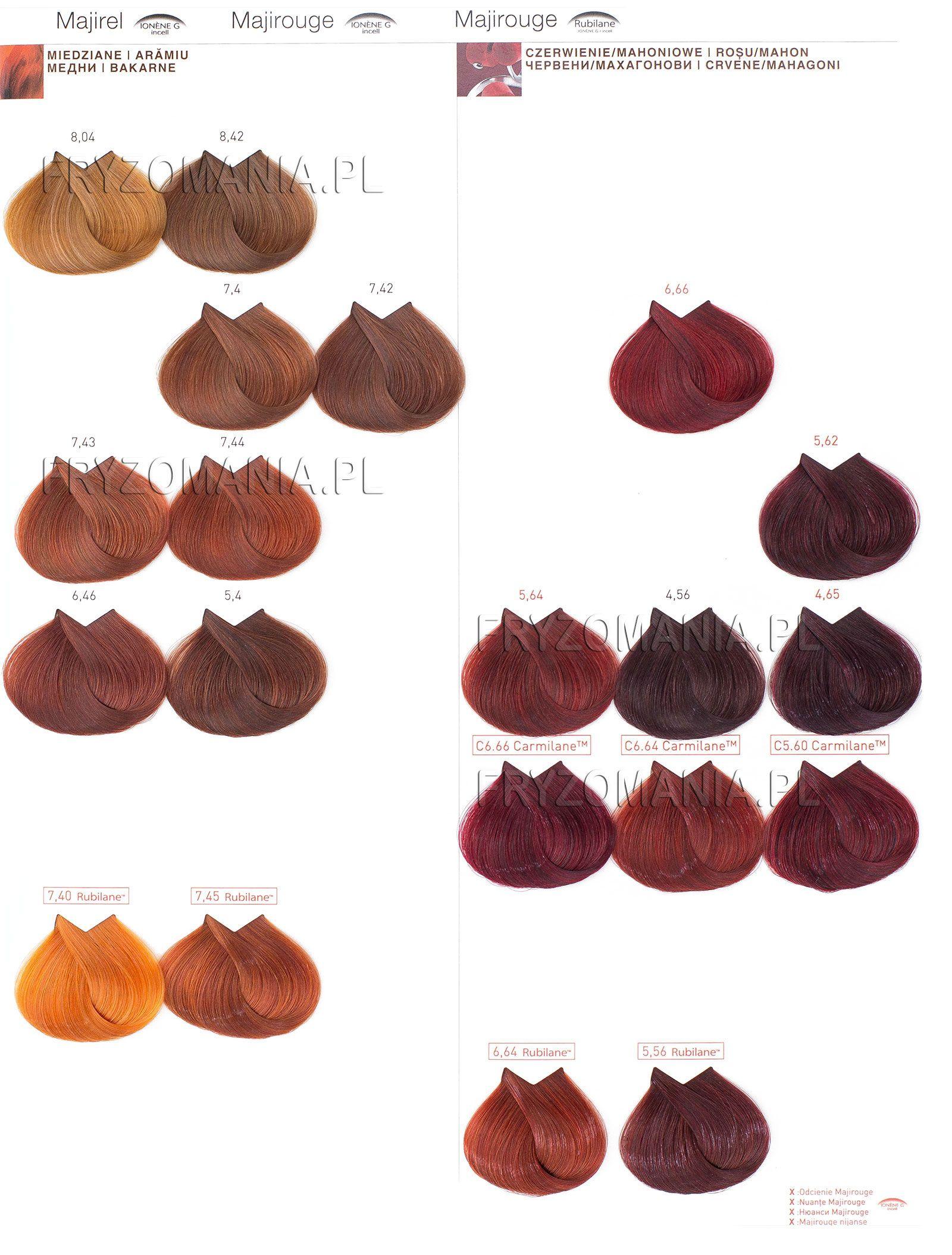 Majirel colour chart - Loreal Majirel Majirouge Farba Do W Os W Koloryzacja Trwa A 50ml Fryzomania Pl Chartshair Colourshair