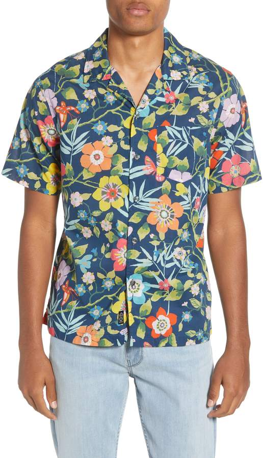 377f71dbb70 Men's Todd Snyder Liberty Oversize Tropical Print Camp Shirt, Size ...